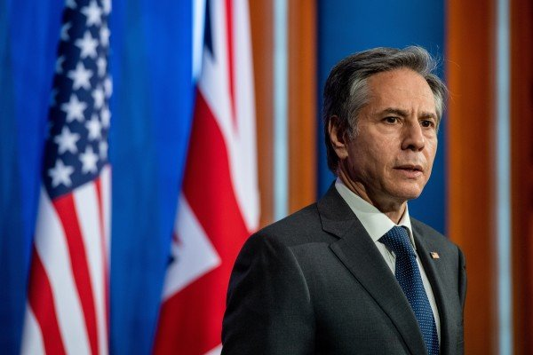 US Secretary of State Antony Blinken takes part in a news conference at Downing Street in London on Monday. Photo: Reuters
