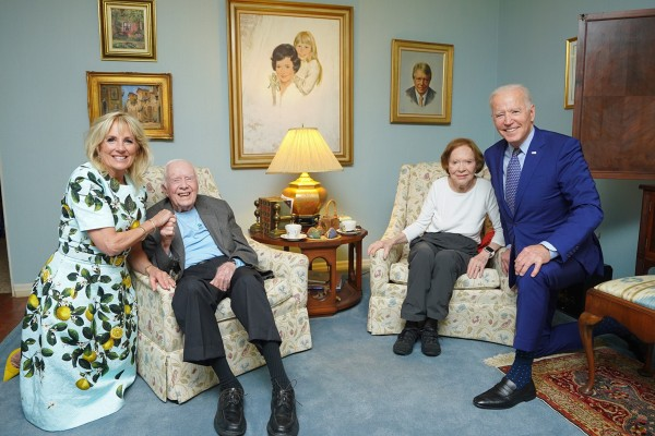 Former US president Jimmy Carter and former first lady Rosalynn Carter pose for a photo with President Joe Biden and first lady Jill Biden. Photo: AP