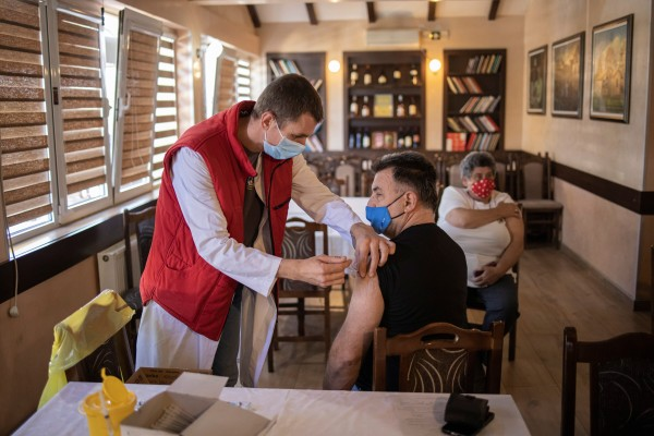 A man receives a dose of the Sinopharm Covid-19 vaccine in Kragujevac, Serbia. Photo: Reuters