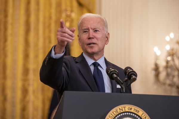 US President Joe Biden speaks about the April jobs report at the White House on Friday. Photo: EPA-EFE