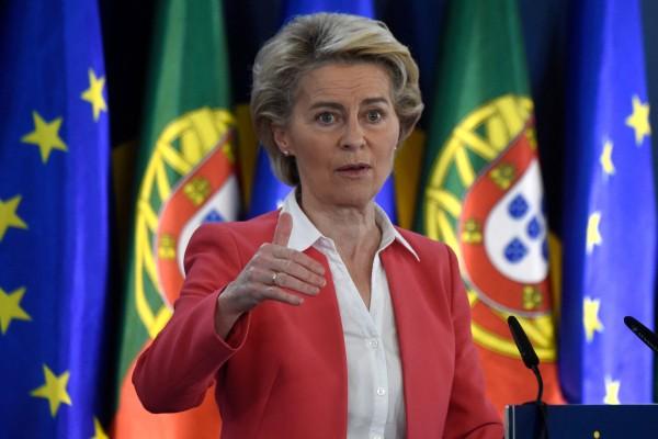 European Commission President Ursula von der Leyen at the Palacio de Cristal in Porto on Saturday. Photo: AFP