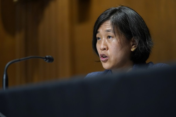 US Trade Representative Katherine Tai testifies before the Senate Finance Committee on Capitol Hill in Washington on Wednesday. Photo: EPA-EFE