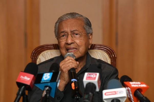 Mahathir Mohamad, Malaysia's former prime minister, speaks at a press conference in January. Photo: Bernama/DPA