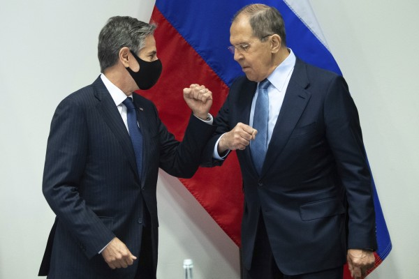 US Secretary of State Antony Blinken (left) greets Russian Foreign Minister Sergey Lavrov as they arrive for a meeting at the Harpa Concert Hall in Reykjavik, Iceland on Wednesday. Photo: AP