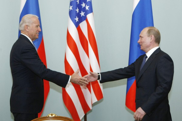 Joe Biden with Russia's Vladimir Putin in Moscow in 2011. Photo: AP