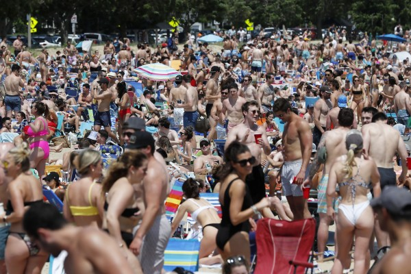 Crowds gather on L Street Beach in Boston on June 5. Photo: AP
