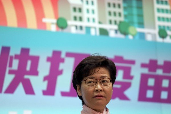 Chief Executive Carrie Lam addressed the media on Tuesday ahead of her weekly Executive Council meeting. Photo: Xiaomei Chen