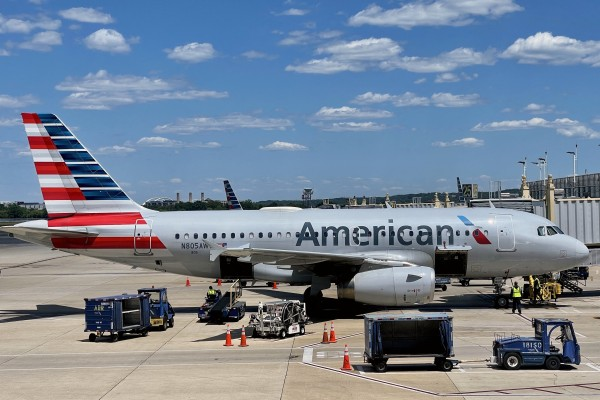 An American Airlines jet at Ronald Reagan Washington National Airport in May. US flight capacity is back to 84 per cent of what it was in 2019 before the coronavirus pandemic. Photo: AFP