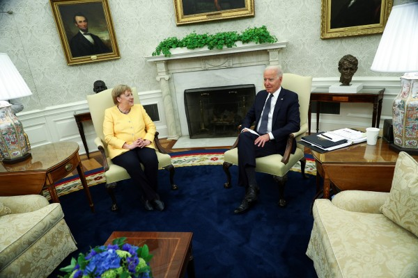 US President Joe Biden holds a bilateral meeting with German Chancellor Angela Merkel in the Oval Office at the White House. Photo: Reuters