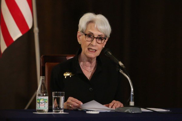 Wendy Sherman, the US deputy secretary of state, speaks to reporters after meeting with her Japanese and South Korean counterparts. Photo: EPA