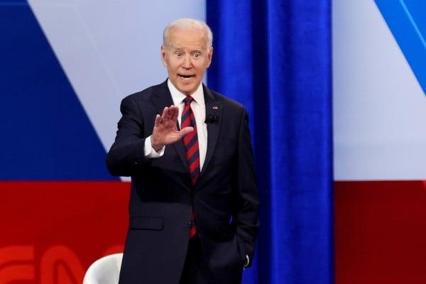 US President Joe Biden speaks during a town hall-style interview at Mount St. Joseph University in Cincinnati, Ohio, on Wednesday. Photo: Reuters