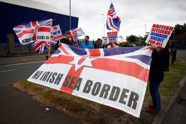 Loyalists protest against the Northern Ireland Brexit protocol at Belfast Harbour Estate in Belfast, Northern Ireland on July 3. Photo: Reuters