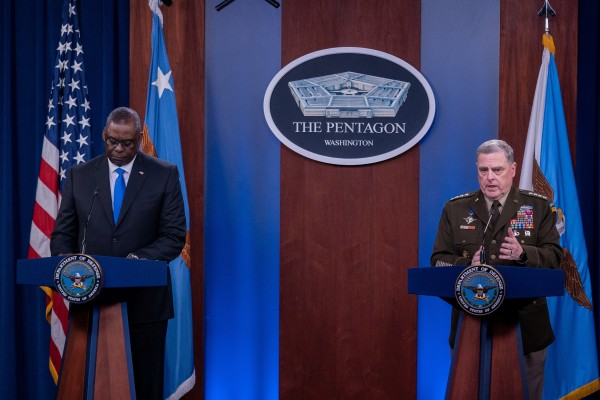 Chairman of the Joint Chiefs of Staff General Mark Milley, right, and US Defence Secretary Lloyd Austin at the Pentagon in Arlington, Virginia on Wednesday. Photo: Reuters