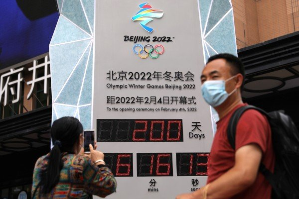 A countdown clock showing 200 days to the opening of Beijing 2022 Winter Olympic Games, in Beijing, China on July 19. Photo: Reuters