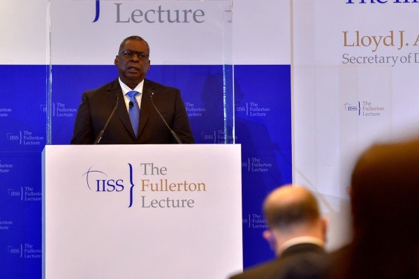 US Defence Secretary Lloyd Austin speaks at the Fullerton Lecture in Singapore on July 27. Photo: Reuters