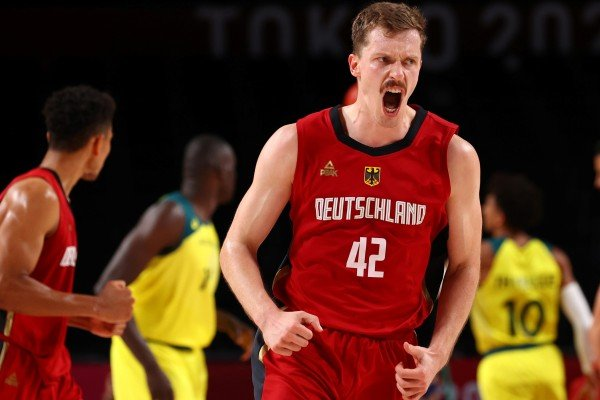 Germany basketball player Andreas Obst wears his Peak-sponsored uniform at the Tokyo Olympics. Photo: Reuters
