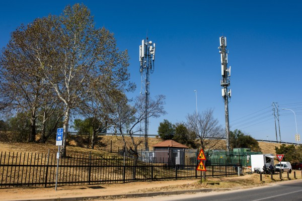 Cellphone towers of the cellular network Rain, manufactured by Huawei Technologies, in Johannesburg, on August 6, 2020. Photo: Bloomberg