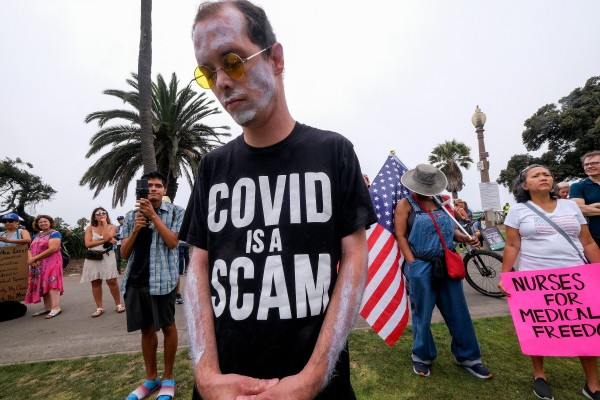 Anti-vaccination protesters take part in a rally against Covid-19 vaccine mandates, in Santa Monica, California. Photo: AFP