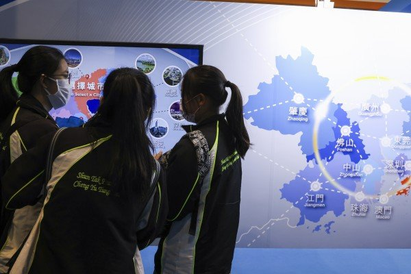 Students visiting a booth set up by The Guangdong-Hong Kong-Macao Greater Bay Area Development Office (GBA Development Office) at the HKTDC Education & Careers Expo 2021 in Wan Chai on 15 July 2021. Photo: Nora Tam