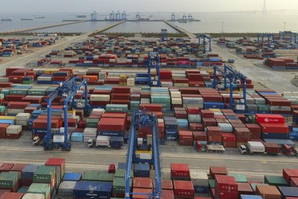 A container port in Nantong, eastern China's Jiangsu province. File photo: Chinatopix via AP