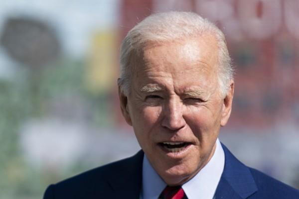 US President Joe Biden speaks at a middle school in Washington on Friday. Photo: AP
