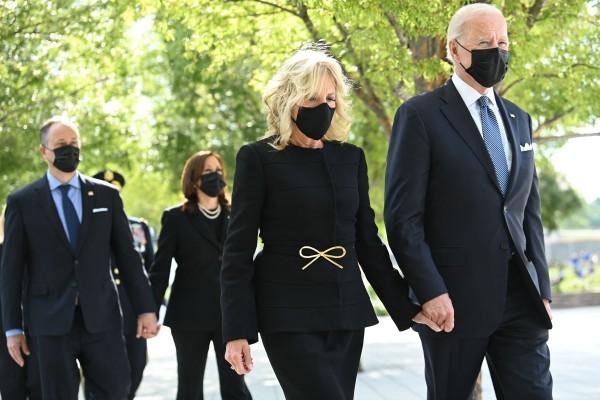 Joe Biden and Jill Biden followed by Kamala Harris and her husband Doug Emhoff attend a wreath-laying ceremony at the Pentagon, Virginia on Saturday. Photo: AFP
