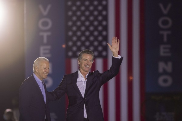 US President Joe Biden joined Governor Gavin Newsom on Monday night for a final campaign stop. Photo: AFP