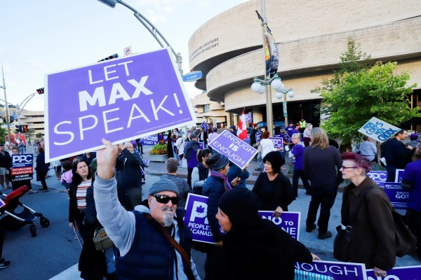 People's Party of Canada supporters protest on Thursday after leader Maxime Bernier was not invited to the two federal election debates. Photo: Reuters