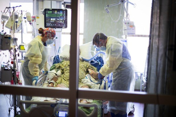 A Covid-19 patient at St Luke's Boise Medical Centre in Boise, Idaho. Photo: AP
