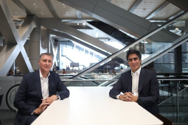 Greg Hingston (left), HSBC's Asia-Pacific regional head of wealth and personal banking, and Nuno Matos (right), CEO of wealth and personal banking, at HSBC's main building in Central. Photo: Winson Wong