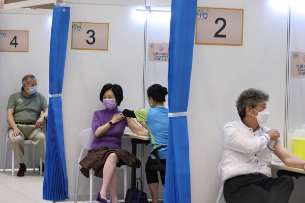 Regina Ip, a top adviser to Hong Kong's leader, receives her second jab against Covid-19 in March. Photo: K. Y. Cheng
