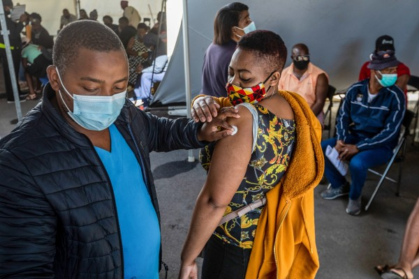 A resident in Cape Town receives a dose of the Pfizer-BioNTech Covid-19 vaccine. Photo: Bloomberg
