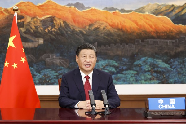 Chinese President Xi Jinping addressing the United Nations General Assembly on Tuesday via video from Beijing. Photo: Xinhua