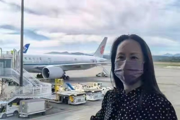 Meng Wanzhou prepares to leave Canada. Photo: Twitter