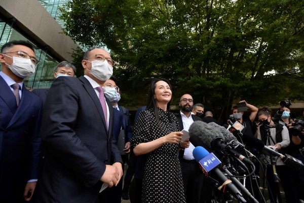 Huawei Technologies CFO Meng Wanzhou leaves court at the conclusion of a hearing in Vancouver, British Columbia, on September 24. Photo: Reuters