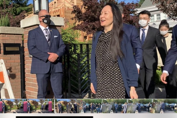 Huawei CFO Meng Wanzhou leaves her home in Vancouver on Friday morning. Photo: Ian Young