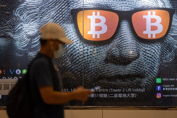 An advertising poster for bitcoin in Hong Kong. On Friday, China intensified a crackdown on cryptocurrencies. Photo: EPA-EFE