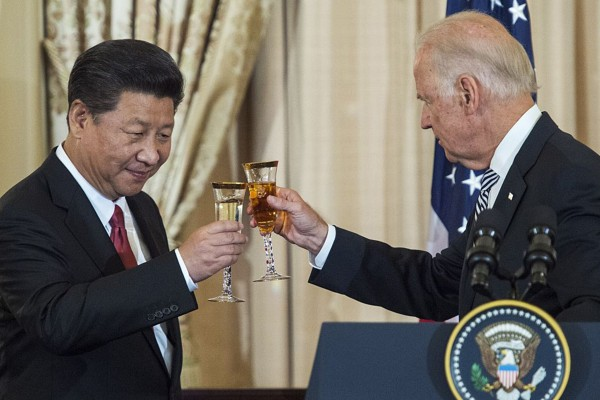 Then US vice-president Joe Biden and Chinese President Xi Jinping raise a toast during a state lunch for China at the Department of State in Washington in September 2015. Photo: AFP