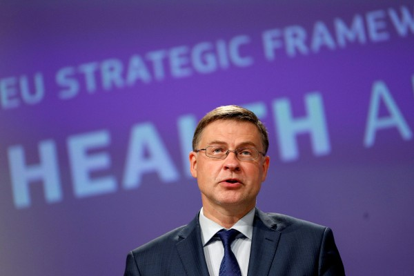 The Biden administration will host EU trade chief Valdis Dombrovskis in Pittsburgh this week for a forum on trade and technology. Photo: Reuters