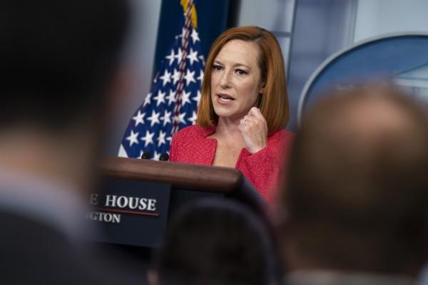 White House press secretary Jen Psaki speaks during a briefing at the White House on Monday. Photo: AP