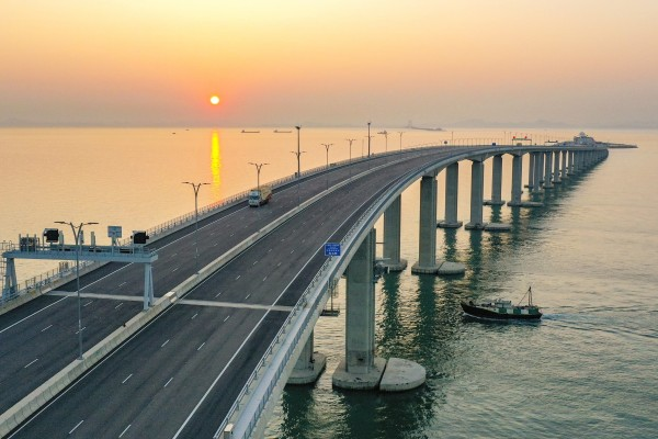 A view of the sunset from the Hong Kong end of the mega bridge. Photo: Winson Wong