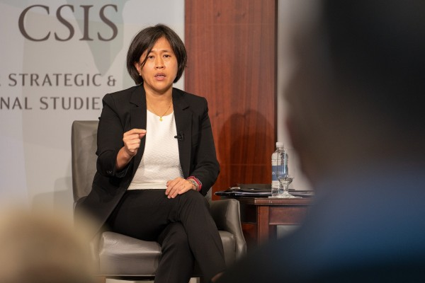 US Trade Representative Katherine Tai speaking about China policy on Monday. Photo: Bloomberg