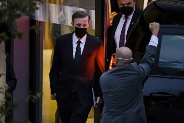 US national security adviser Jake Sullivan leaves his hotel in Zurich on his way to talks with China's Yang Jiechi on Wednesday. Photo: EPA-EFE