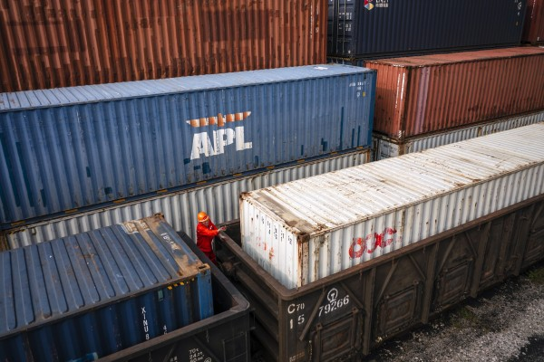 Containers being loaded to the train to Kazakhstan in the China-Kazakhstan logistics base during an organised media tour in Lianyungang, Jiangsu province, China on September 17. The base is recognised as a sample of collaboration between the Belt And Road countries. Photo: EPA-EFE