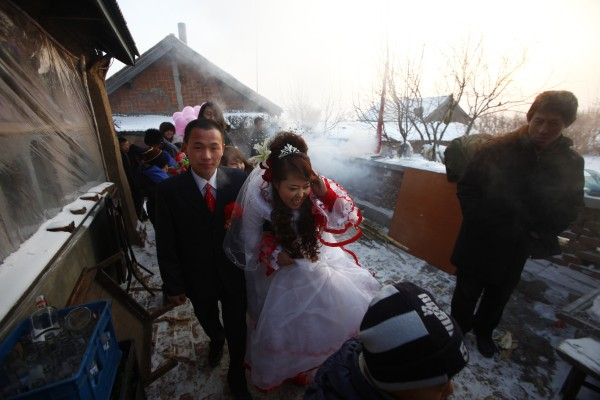 The sight of a happy couple on their wedding day is an increasingly rare sight in rural China. Photo: Getty