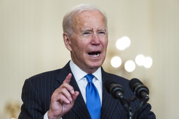 US President Joe Biden speaks about global transport supply chain bottlenecks at the White House on Wednesday. Photo: EPA-EFE