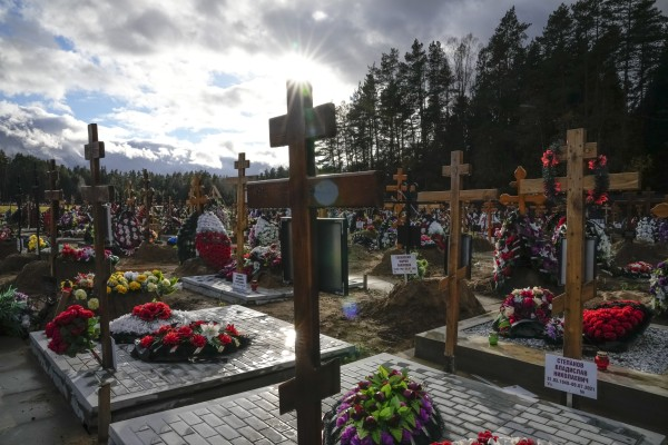Yastrebkovskoe cemetery outside Moscow, which serves as one of the burial grounds for Russia's Covid-19 victims. Photo: AP