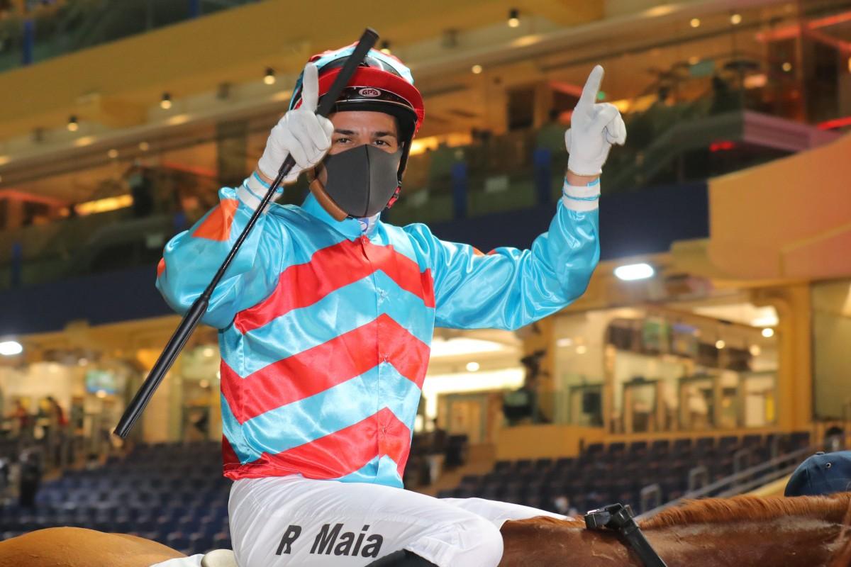 Ruan Maia celebrates his first Hong Kong winner. Photos: Kenneth Chan