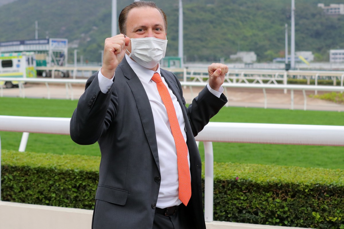 Caspar Fownes celebrates his Hong Kong Derby win at Sha Tin. Photos: Kenneth Chan
