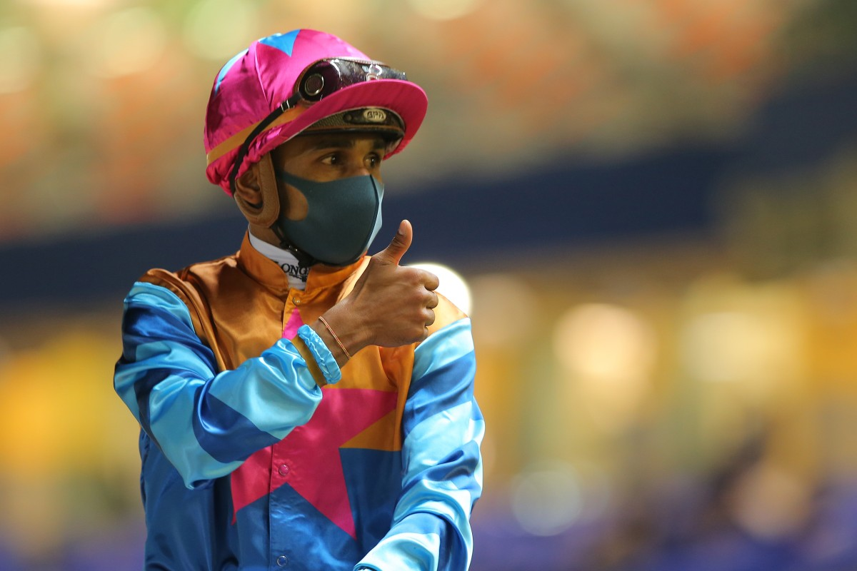 Karis Teetan gives the thumbs up after collecting a treble at Happy Valley on Thursday night. Photo: Kenneth Chan